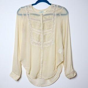 Kimchi Blue | UO Ivory Lace Button Up Blouse